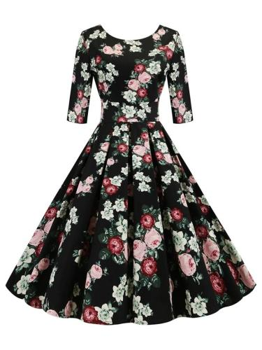 Black 1950S Round Neck Rose Floral Fold Swing Dress