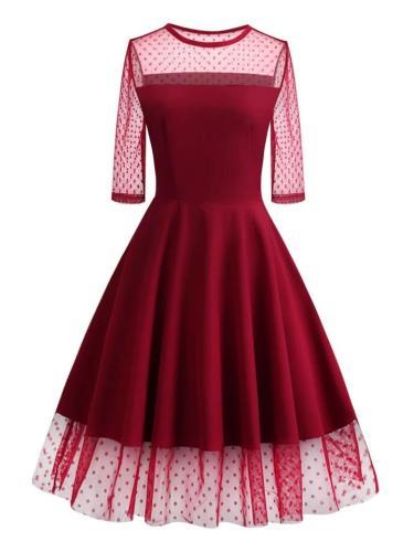 1950S Lace Patchwork HalfSleeve Dress