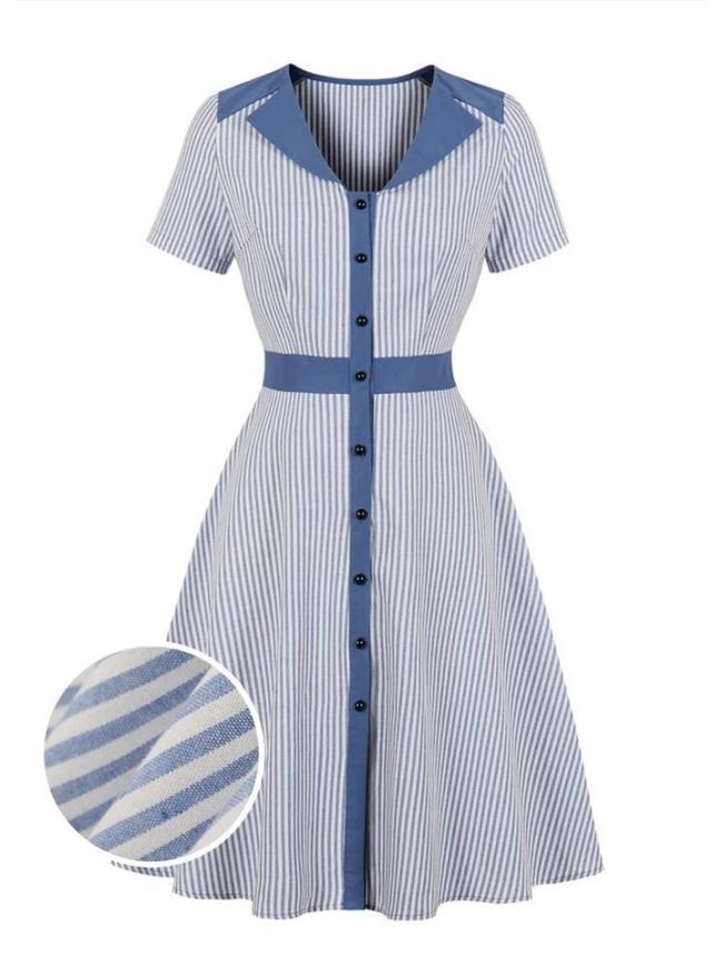 Elegant 1950S Stripes Button Short Sleeve Swing Dress
