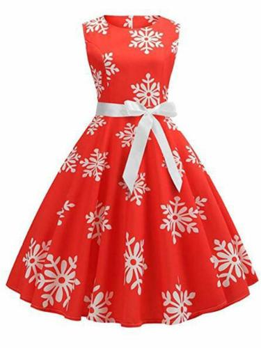 Retro 1950S Snowflake Printing Sleeveless Swing Dress
