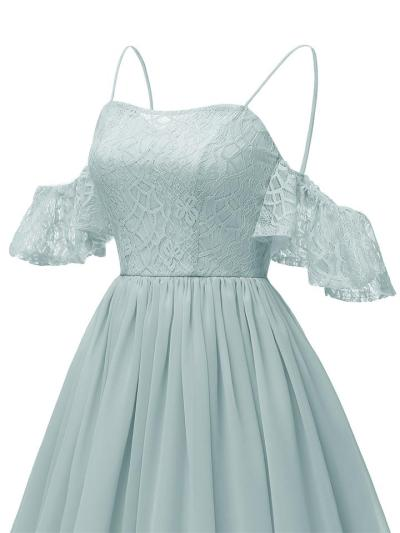 1950S Lace Cold Shoulder Solid Color Strap Dress