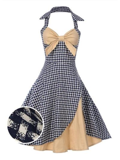 Grey 1950S Plaid Patchwork Bow Halter Swing Dress