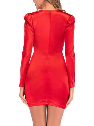 Flattery Red Satin Sheath Dress With Draping Waistband