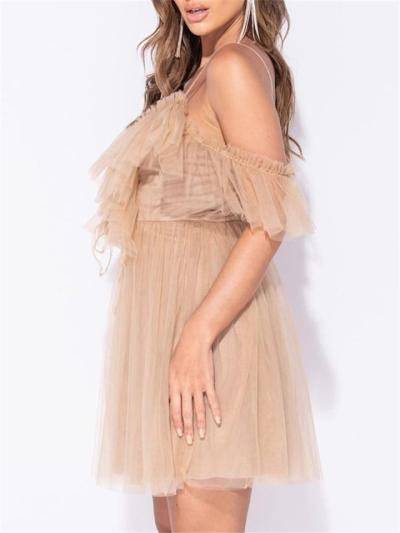 Khaki Sexy Hollow V Neck Ruffle Sleeve Pleated Dress