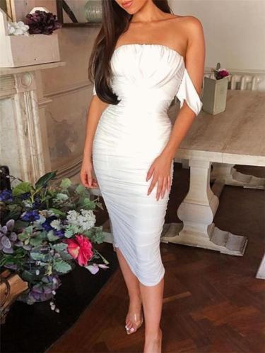 Distinctive Off Shoulder Draped Ruched Sheath Dress