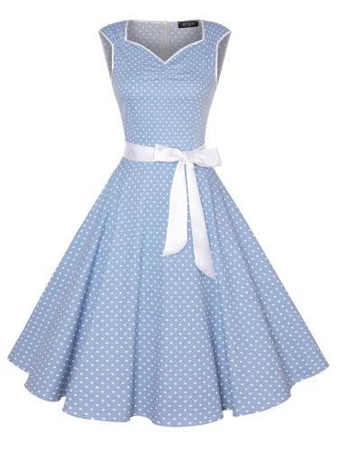 1950S Cute Polka Dot SweetheartSleeveless Bow Swing Dress