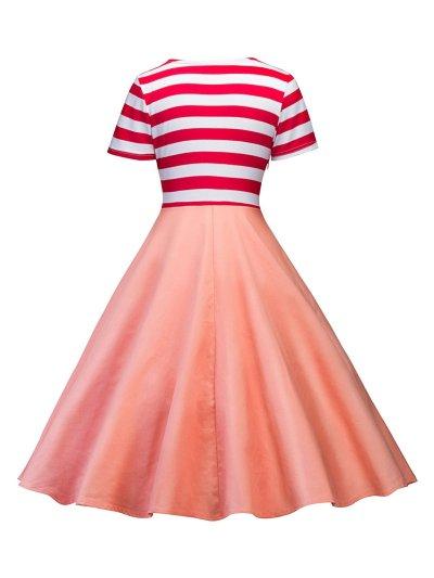 Pink 1950s Poodle Stripe Bow Dress