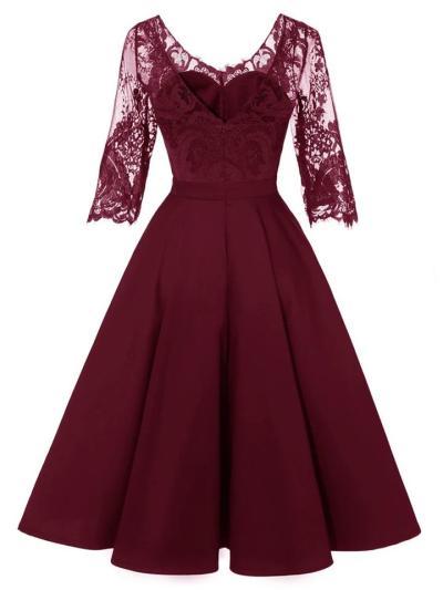 1950S Satin Lace Patchwork Half Sleeve V Back Swing Dress