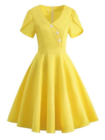 Solid Color 1950S V Neck Button Elegant Swing Dress