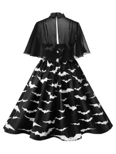 Plus Size 1950S Retro Straps Halloween Bat Print Swing Dresses + Peter Pan Collar Cloak