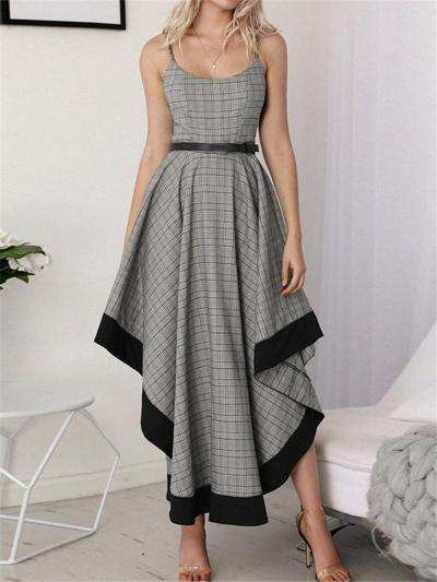 Distinctive Design Shell Shape Asymmetrical Plaid Swing Dress