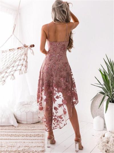 Pink Spaghetti Strap Floral Lace Asymmetrical Dress