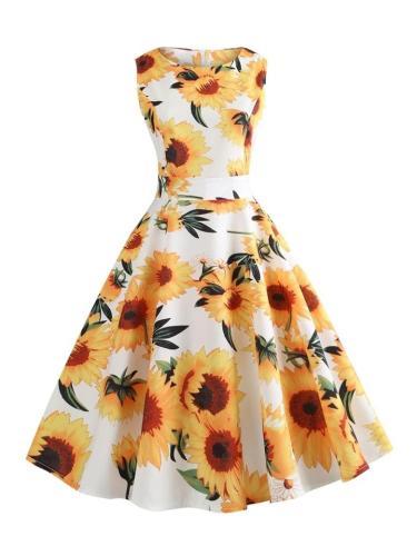 Yellow And White 1950S Sunflowers Midi Swing Dress