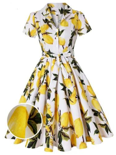 Yellow 1950S Lemon Bow Belted Swing Dress
