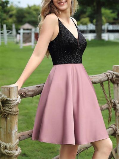 Black Sexy Sequin Strap Bodice A-Line Satin Dress