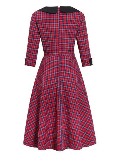 1950S 3/4 Sleeve Classic Plaid Elegant Turndown Collar Swing Dress