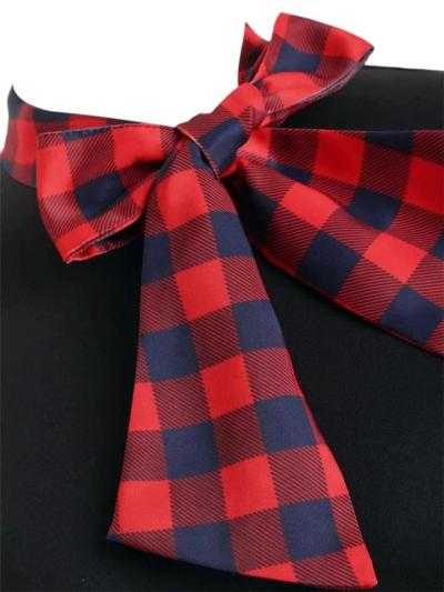 1950S Plaid Patchwork Short Sleeve Bow Stand Collar Swing Dress