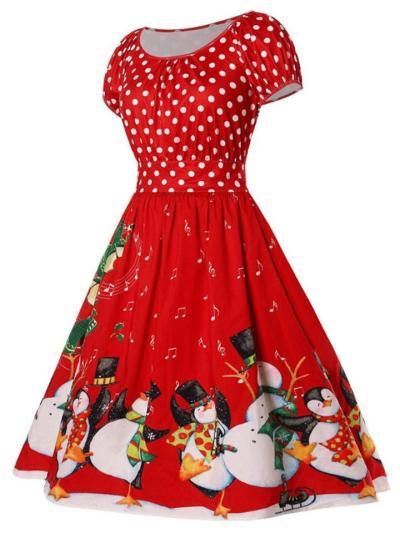 Cute 1950S Polka Dot Snowman Christmas Printing Patchwork Swing Dress