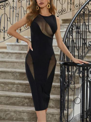Sexy Black Fluoroscopy Mesh Sleeveless Bodycon Dress