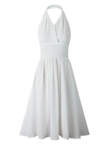 White 1950S Sexy V Neck Halter Holiday Swing Dress