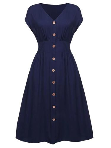 Plus Size Minimalist 1950S Solid Color Button Midi Dress