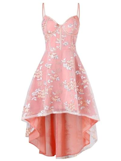 1950S Lace Spaghetti Strap Floral Embroidery Swing Dress