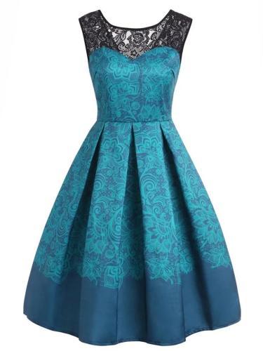 1950S Stylish Lace Floral Print Swing Dress