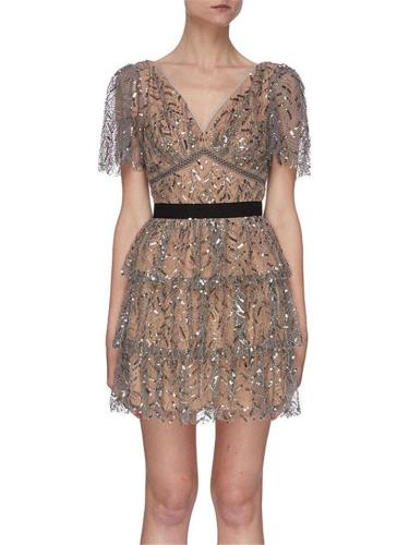 Brown Trendy Luxurious Sequin Mesh Layered Dress