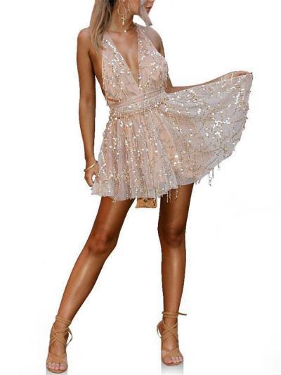 Sequins Deep V Neck Backless Halter Swing Dress For Party