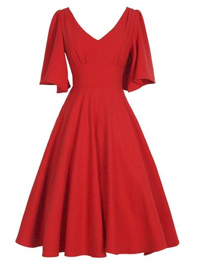 Plus Size 1950S Sexy V Neck Flutter Sleeves Pleated Swing Dress