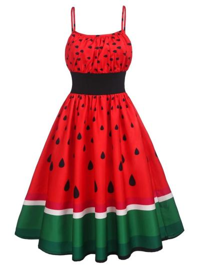 Red 1950S Lovely Watermelon Spaghetti Strap Patchwork Dress