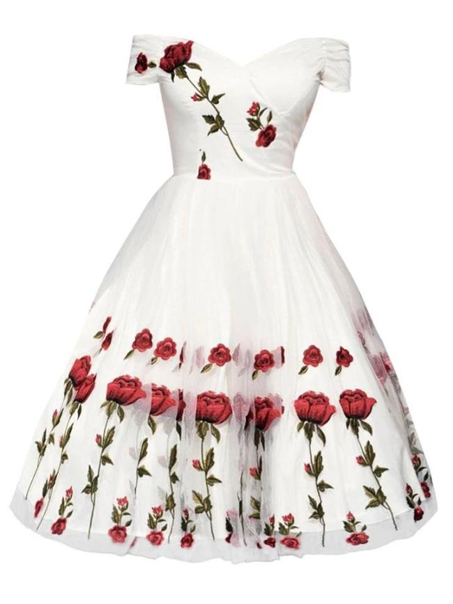Gorgeous 1950S Lace Rose Embroidery Off Shoulder Dress