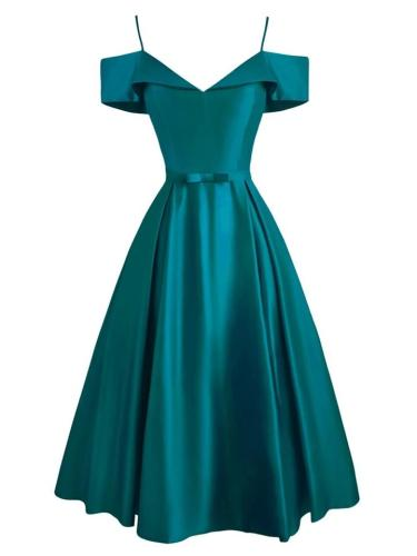 Minimalist 1950S Cold Shoulder Belted Satin Strap Maxi Dress