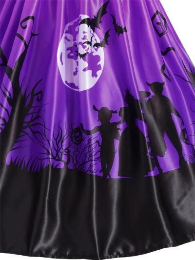1950S Halloween Patchwork Sleeveless Midi Dress