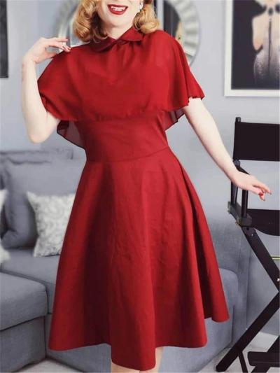 1950S Princess Seamed Bodice Patchwork Cape Swing Dress