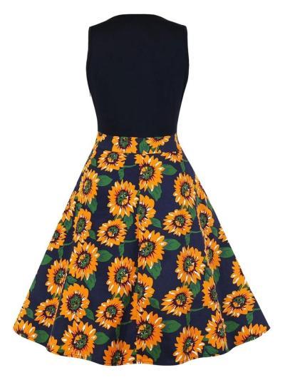1950S Floral Patchwork V Neck Sleeveless Swing Dress