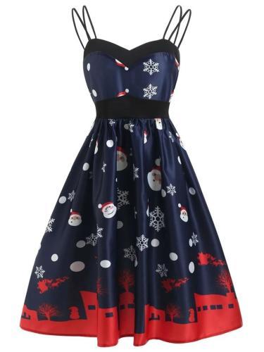 1950S Spaghetti Strap Santa Claus Snowfall Dress