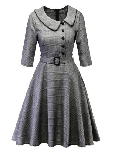 Elegant 1950S Retro Classic Plaid Peter Pan Collar Swing Dress