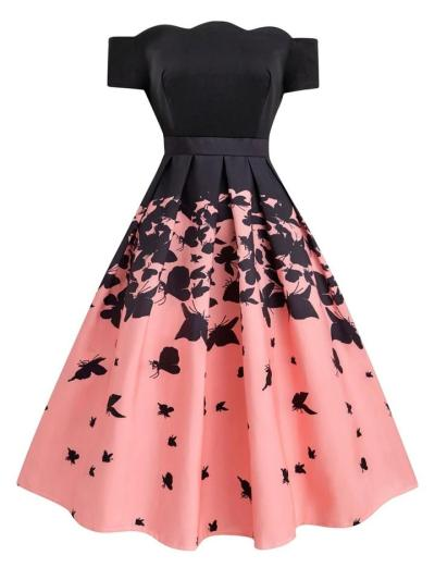 Black And Pink 1950S Butterfly Off Shoulder Swing Dress