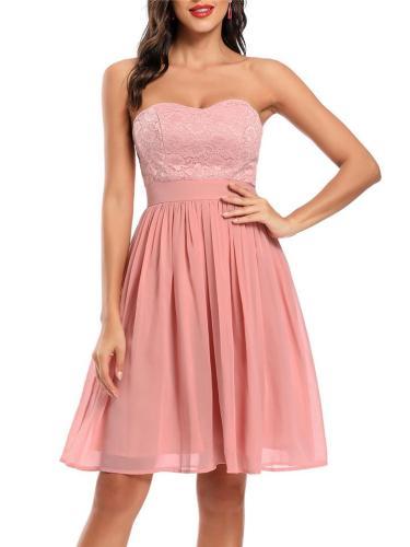 Sweet Off Shoulder Chiffon Swing Dress