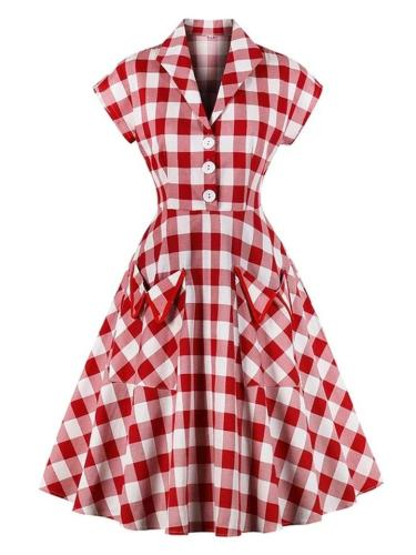 Classic Red 1950S Plaid Button Pockets Dress