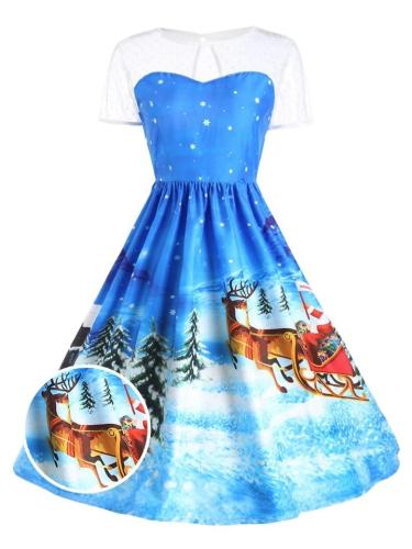 1950S Lovely Christmas Print Lace Patchwork ShortSleeve Swing Dress