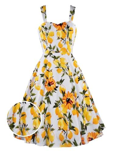Yellow 1950S  Floral Lemon Vacation Strap Dress