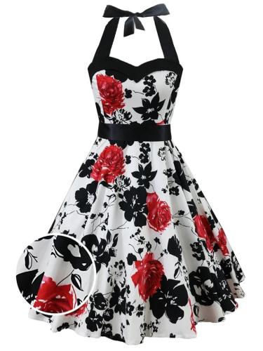 White 1950S Floral Lace-Up Halter Swing Dress