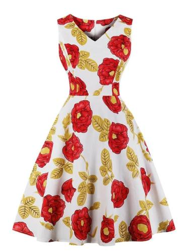 1950S Stylish Floral Polka Dot Swing Dress