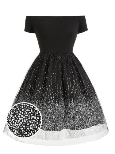Black 1950S Chic Gradient Dot Starry Sky Off Shoulder Dress