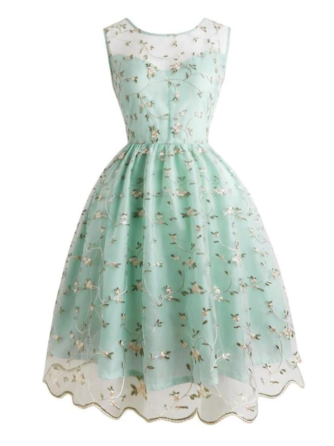 Beautiful 1950S Crafted Floral Embroidery Lace Dress