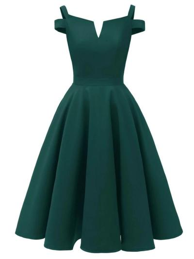 1950S Satin Solid Color Cold Shoulder Strap Swing Dress