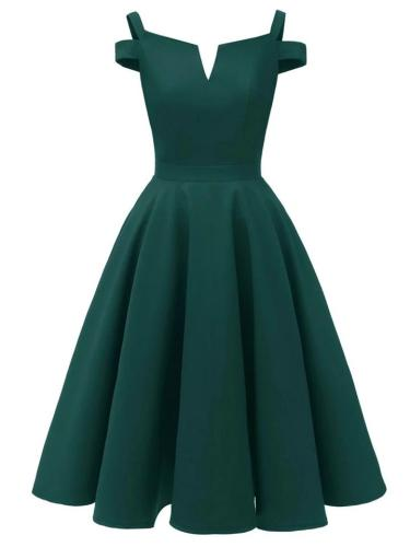 1950S Satin Solid Color Cold Shoulder Strap Swing Dress