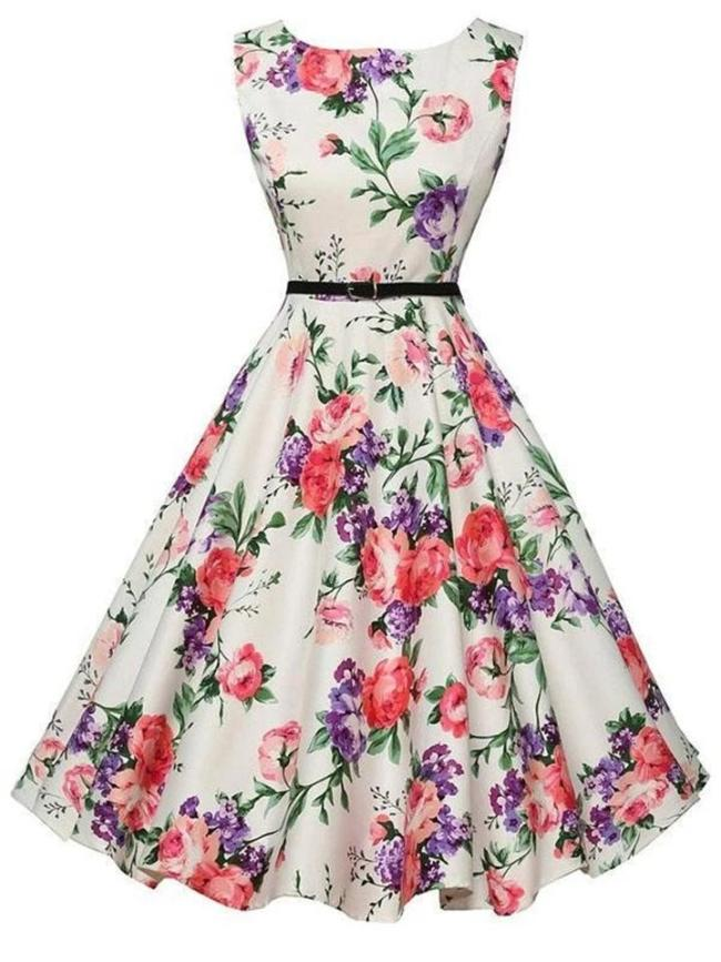 1950S Floral Belted Sleeveless Swing Dress